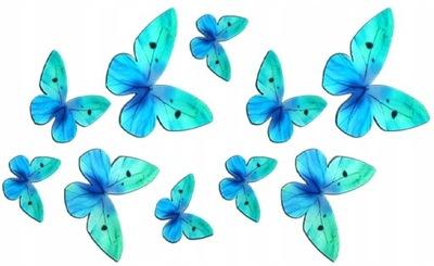 бабочки вафельные 3D ТОРТ бабочки БИРЮЗОВЫЕ 10 штук