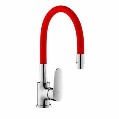 Kuchynská batéria IBBIE s červeným flexibilným výtokom