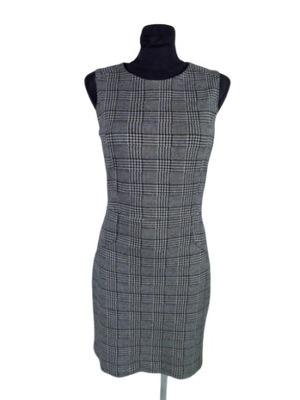 MANGO sukienka KRATKA czarno biała bufki hiszpanka