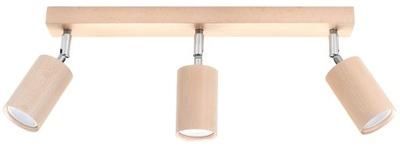 , SOLUX Tienidlo Lampy BERGE 3 Prírodného Dreva Strop
