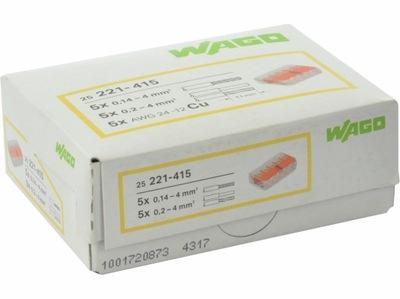 WAGO rýchly konektor, drôty, káble 5x4 pôvodné 25pcs