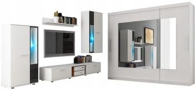 Стенка Куба + шкаф МАРТА 250см белая