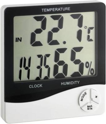 Termo-higrometr z zegarem atest CE