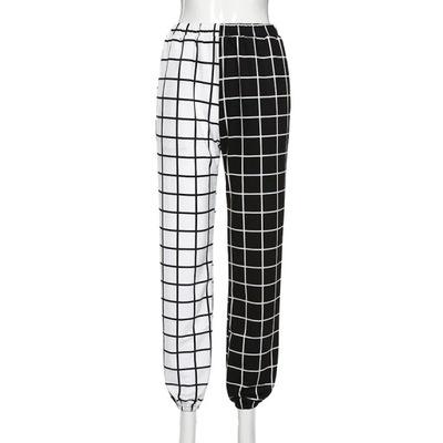 spodnie baggy joggery kratka szachownica ściągacze