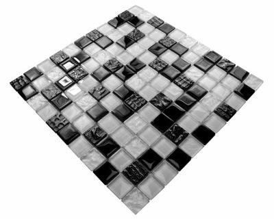 Мозаика стекло белая черная структура CARBON 102