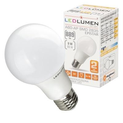 Лампа A60 E27 9W=65W LED SMD 889lm CCD LEDLUMEN