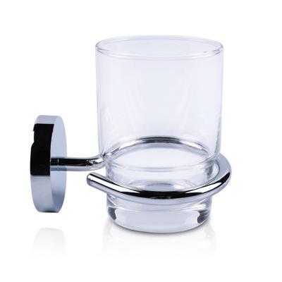 Стакан для зубных щеток с держателем Хром -стекло