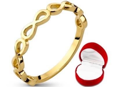 UROCZY Złoty pierścionek OBRĄCZKA INFINITY 333 r19