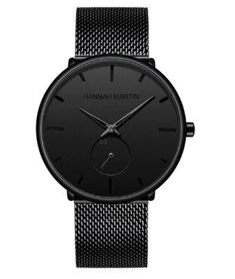 Elegancki męski zegarek czarny bransoleta mesh