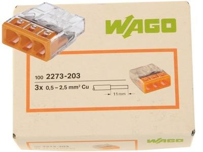 WAGO rýchle uvoľnenie spojka NA kábel 3x2,5 2273-203 100 Ks