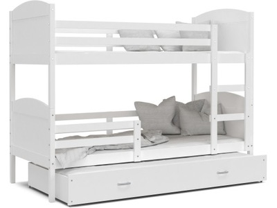 Poschodová posteľ MATÚŠ 3 biele biele 190x80