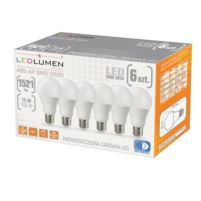 комплект 6x Лампа LED E27 15W=100W CCD LEDLUMEN