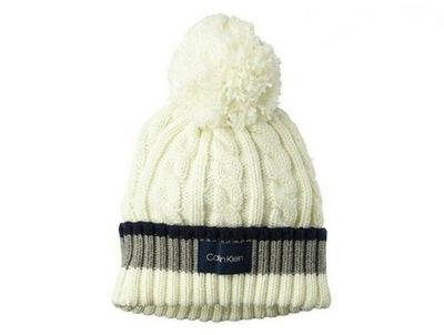 czapka zimowa Calvin Klein kremowa uniwersalna