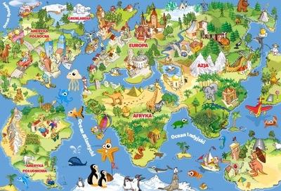 Nástenné maľby, Tapety Mapy Sveta pre deti 190x130cm