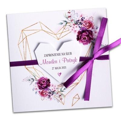 Zaproszenia ślubne na ślub geometryczne BOHO SERCA