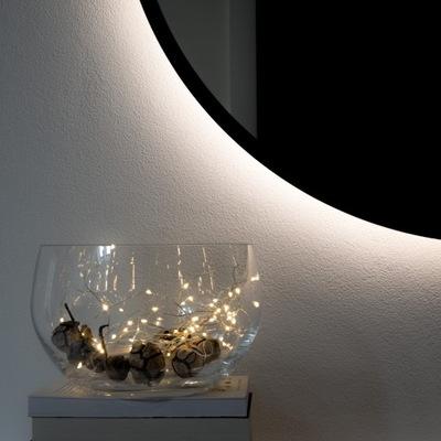 Okrúhle LED osvetlené zrkadlo s čiernym rámom 110cm!