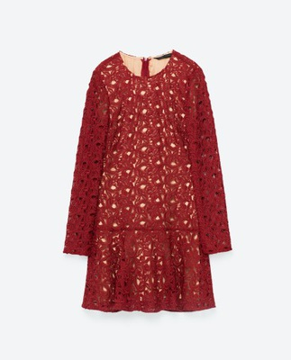 Zara blogerska sukienka z nadrukiem i paskiem XS