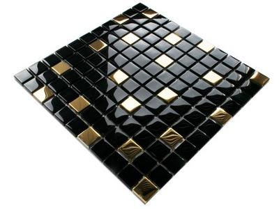 Мозаика СТЕКЛЯННАЯ NERO GOLD ЗОЛОТО черная 30х30 8 ??