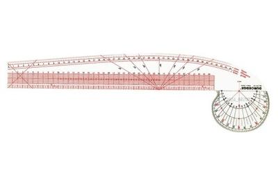 Изогнутая линейка krzywik 45 см с kątomierzem
