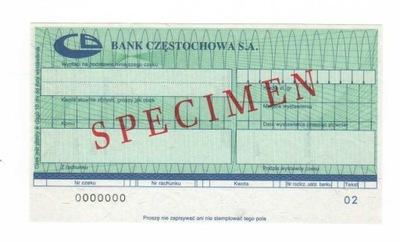 czek specimen Bank Częstochowa SA BCZ2