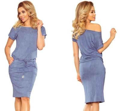 513860ed WYGODNA NIEBIESKA Sukienka z dekoltem 53-10A r. XL - 7306757350 ...