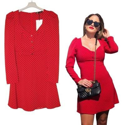 sukienka zara panterka czarno czerwona