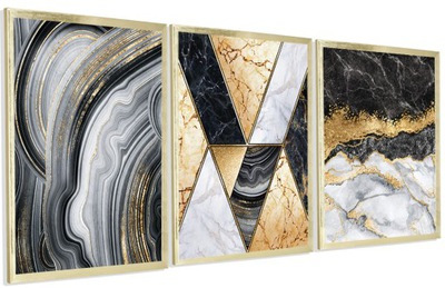 Серия 3 ИЗОБРАЖЕНИЯ золото черные Мрамор 3x 30X40cm ФОТО