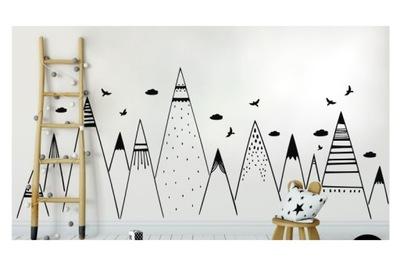 Samolepky na stenu HORY oblaky vtáky 4 m FARBY