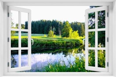 Nástenné maľby Samolepiace 3D Okne Odtlačkový - CR-179