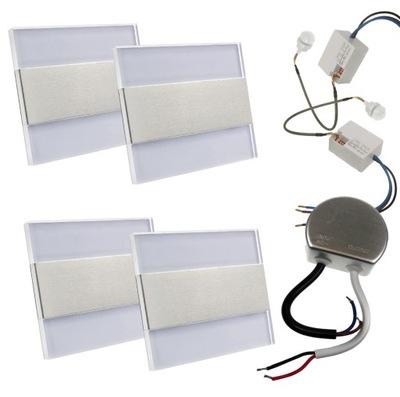 SADA 4x Pevné schodisko LED + 2czujki + zdroj napájania