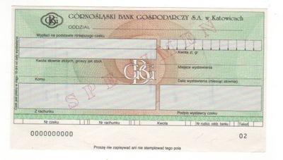 czek specimen Górnośląski Bank Gospodarczy SA GBG