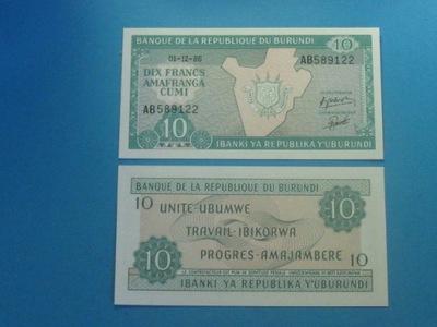 Бурунди 10 Francs 1986 !! Реже rocz ! P-33 UNC
