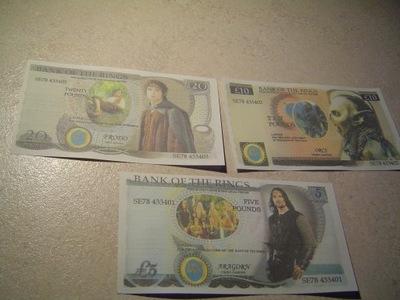 WŁADCA PIERŚCIENI zestaw 3 banknotów5-10-20 POUNDS