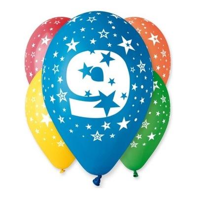 Воздушные шары на день Рождения с рисунком -Циферка № 9 - 5  штук .