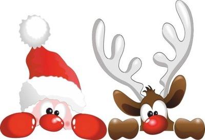 Naklejki świąteczne na okno MIKOŁAJ i RENIFER 50cm