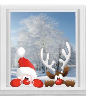 Nálepky na Okná Vianočné Santa CLAUS a JELENE 50 cm