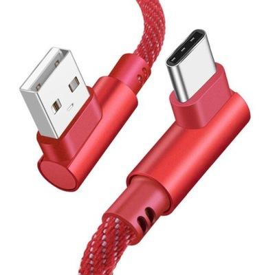 KABEL USB PLECIONY USB-C KĄTOWY 90st KOLORY 1 METR