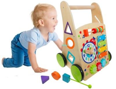 DREVENÉ detské CHODÍTKO, TLAČNÉ KOCKA VZDELÁVACIE 6w1