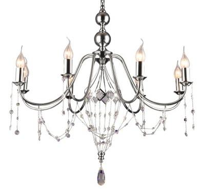 Crystal prívesok Lampa Glamour chrome a Jednoty 8x60W čerpadla