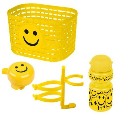 ZESTAW koszyk bidon dzwonek UŚMIECH SMILE żółty