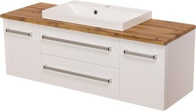 ФОКУС мебель для ванной комнаты белая шкаф 120 столешница ???