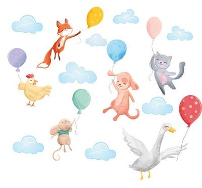 наклейки для детей на стену воздушные шары с воздушными шарами