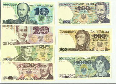 комплект банкнот ПНР от 10  ???  1000 & nbsp; 7 x UNC