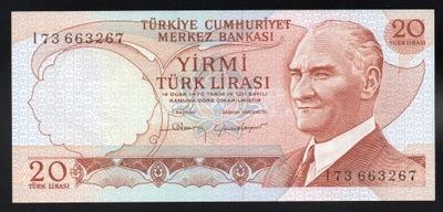 Turcja 20 LIRA P-187b UNC ND seria I