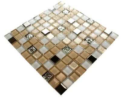 Мозаика стеклянная бежевая серебряная Янтарь SILVERO