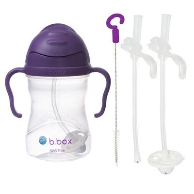 B. BOX LEPŠIU fľaša na vodu + SLAMY fialová 6m+ 240 ml