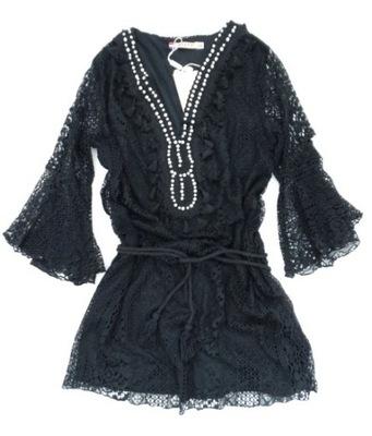 bc5b1f54f5fe4a CZARNA tunika sukienka boho falbana 40/42 bdb - 7293751292 ...