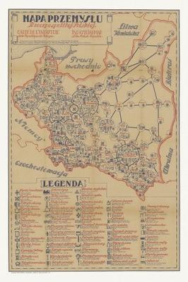 польский  II RP иллюстрированная карта промышленности
