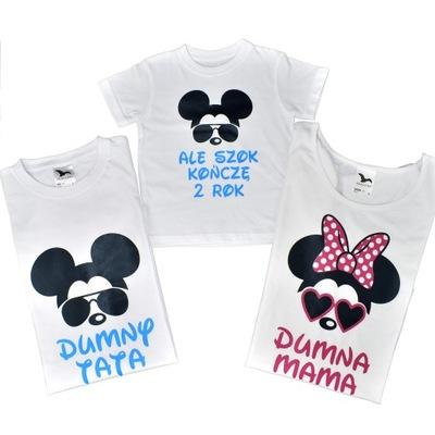 Zestaw koszulek mama tata i syn na 2 urodziny