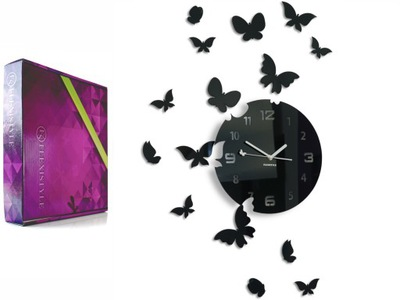 современный большой, тихий часы настенный бабочки цвета